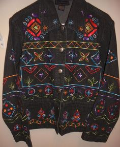 New Direction~ Black Denim (cotton) Jacket with Embroidery & Beads~Women' Size M in Clothing, Shoes & Accessories, Women's Clothing, Coats & Jackets | eBay
