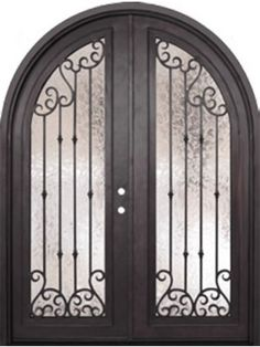 "Valencia Full Lite Round Top Double Wrought Iron Door 8' 0"" Tall - Shown with black satin finish and ice flower glass texture."