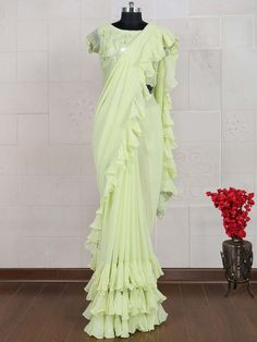 Buy Pastel Green Color Ruffle Saree by Akanksha Singh at Fresh Look Fashion Fancy Sarees Party Wear, Saree Designs Party Wear, Designer Party Wear Dresses, Simple Saree Designs, Fancy Blouse Designs, Saree Blouse Designs, Indian Fashion Dresses, Indian Gowns Dresses, Stylish Sarees