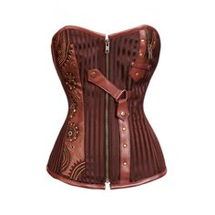 CD-804 - Brown Striped Corset with Gold Intricate Detailing - SALE