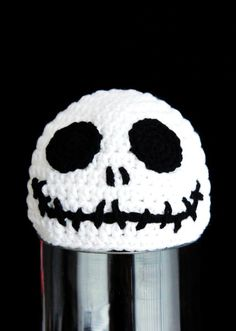 Halloween Skull Hat, Skeleton Head Hat, Crochet Baby Hat, Baby Hat, Black, White, photo prop, inspired by Jack Skellington #2014 #Halloween
