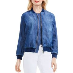 Vince Camuto Washed Denim Bomber Jacket ($140) ❤ liked on Polyvore featuring outerwear, jackets, authentic, blue denim jacket, jean jacket, flight bomber jacket, blue bomber jacket and bomber jacket