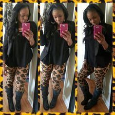Black blazer.  Leopard leggings from Bakers.