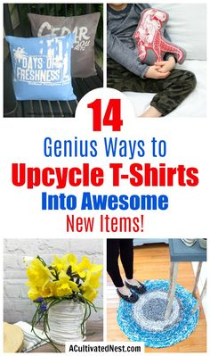 14 Genius Ways to Upcycle T-Shirts- Just because your favorite old t-shirt has some holes doesn't mean you have to throw it out! Instead, take a look at these great ways to upcycle t-shirts into fun new items! Upcycle T Shirts, Recycled Shirts, Old Shirts, T Shirt Recycle, Recycler Diy, Modelos Pin Up, Upcycled Crafts, Upcycled Clothing, Clothing Items