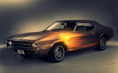 Photo Wall Paper Fleece Wallpaper Motorization Car Sports Classic Ford Mustang