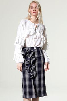 Tecy Check Ruffle Skirt Discover the latest fashion trends online at storets.com #denim jacket   #Velvet Skirt
