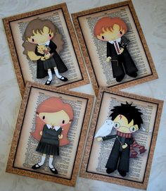 HARRY POTTER and friends - 5x7 prints - Set of 4 - Whimsical and Delightful - Wall Art - PQ 84. $26.00, via Etsy.