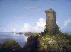 トマス・コール  Thomas Cole : Italian Coast Scene with Ruined Tower-1838 (荒れ果てた塔とイタリアの海岸風景)  : National Gallery of Art, Washington DC