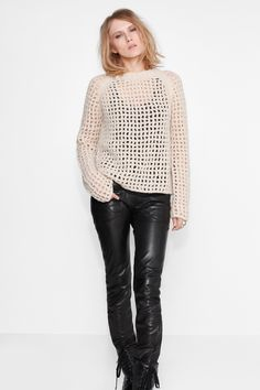 Knit Sweater Styling  Zadig et Voltaire sweater, in fuzzy knit fishnet, 25% mohair, 30% merino wool, 25% acrylic, 12% nylon. Fashion show fall-winter 15/16 collection.