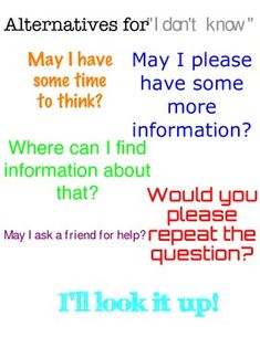 """Alternatives for saying """"I don't know"""" poster"""