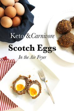 Low Carb Gluten-Free Scotch Eggs in the Air Fryer Gluten-Free Scotch Eggs - Health, Home, & Happiness Scotch Eggs Recipe, Egg Calories, Gaps Diet, Egg Diet, Grass Fed Beef, How To Cook Eggs, Healthy Fats, Food To Make, Low Carb