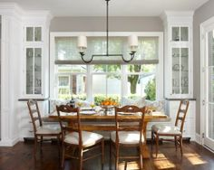 Banquette Idea with side cabinets in white
