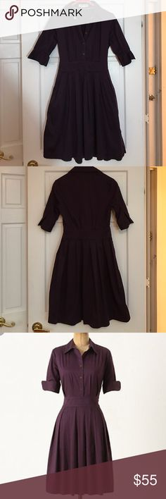 """Lili's Closet Anthropologie Eggplant Shirt Dress Lili's Closet Anthropologie Eggplant Shirt Dress. Size 4 - great condition! Waist is 13.5"""" and and Shoulder to hem is 37"""". Classic piece for your wardrobe. Anthropologie Dresses"""
