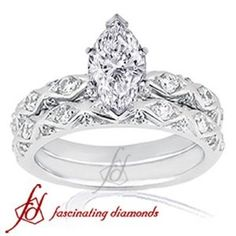 Diamond Pave Marquise Wedding Ring Set