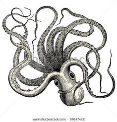 """Octopus (octopus vulgaris) - vintage engraved illustration - """"Nouveau dictionnaire encyclopédique universel illustré"""" By Jules Trousset - 1891 Paris - stock vector Dictionnaire encyclopédique Trousset"""