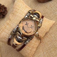 Fashion Watch Bracelet, Zinc Alloy, with Cowhide & Glass & Wood, plated, for woman & 3-strand, nickel, lead & cadmium free, 23x8mm, Length:Approx 7 Inch, 4PCs/Bag, Sold By Bag