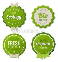 Eco Vintage Labels Bio template set. Ecology theme. Retro logo template design. Extra High quality. 3D Vector. — Stock Illustration #26126473