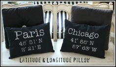 DIY Latitude and Longitude Pillow Tutorial from Crafting Rebellion here.I don't know how I missed these when she originally posted them, but found them on Font Crafts here. Really good gift idea for someone who is going away to college or just because. Crafting Rebellion also has a site online where all you do is type in your town's name for the latitude and longitude.