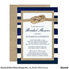 Nautical Knot Navy Blue Stripes Rustic Bridal Shower Invitations