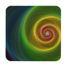 Dream spiral coaster $29.80 *** Colorful shiny spiral background *** spiral - neon - swirl - dream - twirl - colorful - fantasy - imagination - fractal - motion - rotation - vortex - coaster