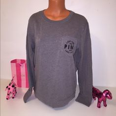 NEW PINK VS LOGO IN POCKET SWEATSHIRT PINK VICTORIA'S SECRET SWEATSHIRT  SWEATSHIRT WITH POCKET, LOGO IN THE POCKET   COLOR GRAY   SIZE M (TRUE SIZE)   FAST SHIPPING!!! ✅    Check out my other items! I am sure you will find something that you will love it! Thank you for watch!!!!!   Be sure to add me to your favorites list! PINK Victoria's Secret Tops Sweatshirts & Hoodies