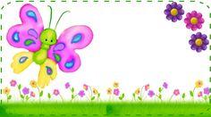 etiquetas escolares gratis flores y mariposas - Buscar con Google