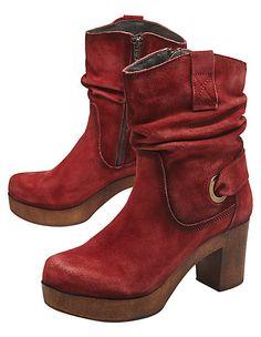Mango Stiefel Stiefelette Boots Absatz Holz Wildleder braun 39