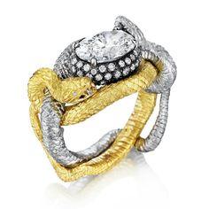 The Fighting Vipers ring by @anthonylentjewelry: yellow gold, platinum, diamonds, and pure, undiluted badassery. DiamondsInTheLibrary.com. #diamondsinthelibrary