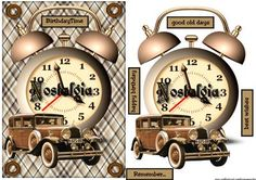 Male card TIme To Remember on Craftsuprint designed by Marijke Kok - Great male card in vintage style, with a clock, a vintage car,for any occasion. - Now available for download!