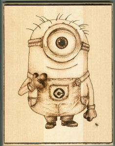 "Minion, 8"" x 10"" Wood Burning, March 2015 www.geekburning.com Facebook: https://www.facebook.com/GeekBurning"