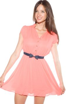 Quirky Girl Cap Sleeve Chiffon Dress - Coral from Depri at Lucky 21