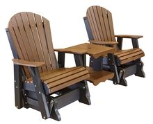 What is better than a poly lumber Weather Resistant glider chair? Two chairs with a table in the middle!