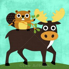 Bright Beaver and Moose 6x6 Print by leearthaus on Etsy, $15.00