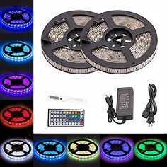 LTROP 2 Reels 12V 328ft Waterproof Flexible RGB LED Strip Light Kit Color Changing SMD5050 300 LEDs LED Strip Kit  Mini 44key IR Controller  12V 5A Power Supply Adhesive Light Strips *** You can find more details by visiting the image link. (Note:Amazon affiliate link)