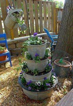 DIY Stacked Galvanized Bucket Planters