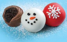 OREO snowballs  Ingredients 1 pkg. (8 oz.) brick cream cheese, softened 36 OREO Cookies, finely crushed 3 pkg. (4 oz. each) white baking chocolate, melted 1 tsp. black decorating gel 2 tsp. orange decorating icing Instructions MIX  cream cheese cookie crumbs until blended. SHAPE  into 48 (1-inch) balls. Freeze 10 min. Dip balls in melted chocolate; place in single layer in shallow waxed paper-lined pan. Decorate with remaining ingredients to resemble snowmen. REFRIGERATE  1 hour or until…