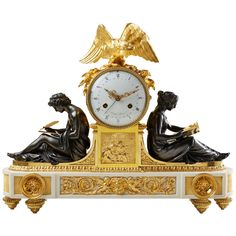Rare late 18th c. Neo-classical Louis XVI Ormolu Mantel Clock | From a unique collection of antique and modern clocks at https://www.1stdibs.com/furniture/decorative-objects/clocks/