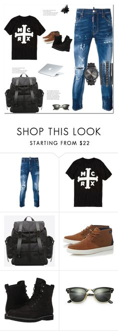 """""""On a daily basis"""" by ricardo-vitorino on Polyvore featuring Dsquared2, Hot Topic, Lacoste, Timberland, Dyson, Ray-Ban, men's fashion, menswear e basic"""