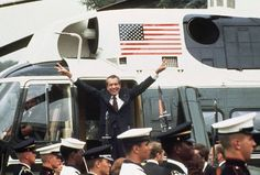 Richard Nixon leaves the White House, after Congressional impeachment.  1974