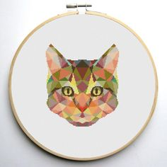 Geometric Cat Cross Stitch Pattern PDF | Craftsy
