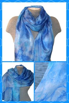 US$42.00This elegant blue, turquoise hand painted silk scarf will create a unique look. The beautiful blend of blues and turquoises make the scarf a great gift too.   It's perfect for year-round wear and makes a great luxury gift for someone you love or a much-deserLength – approximately 160 cm (62 inches), width - approximately up to 90 cm (up to 35 inches)ved treat for yourself!