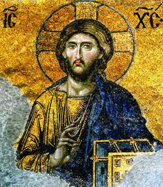 This Pantocrator Deesis depicting Christ as ruler of the world is a Byzantine <strong>mosaic</strong> located in Hagia Sophia, Istanbul, Turkey. It is made with a technique of tesserae, or cut cubes of translucent colored glass and ceramics pieced together to form a picture. The gold is created with paper thin sheets of gold leaf sandwiched between two pieces of molten glass like a mirror. Glass mosaic was made in every color.