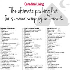The ultimate packing list for camping in Canada