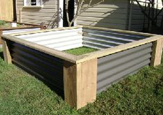 Corrugated metal raised bed Raised garden beds Pinterest
