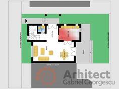 Casa cu lot ingust | alipire la calcan 3 | Proiecte de case personalizate | Arhitect Gabriel Georgescu & Echipa Case, Floor Plans, Dining, Food, Floor Plan Drawing, House Floor Plans