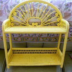 Victorian Yellow wicker shelf - POPPIESTREASURES