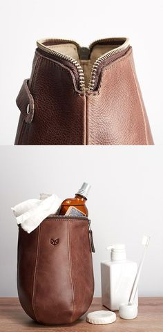 Mens love toiletry bags. They are the perfect gear to travel organize with all the grooming stuff and toiletries. This unique BOXER TOILETRY BAG is made from full grain leather and comes with a water proof interior so you won't suffer with spilled bottles anymore. Make it personal with custom engraving.