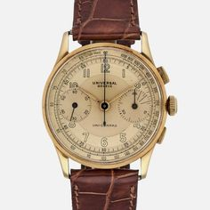 Why This Watch Matters The Universal Genève Uni-Compax is one of the most elegant vintage chronographs, and this yellow-gold stunner with two-tone yellow-gold dial is no different. It's well-balanced,                                                                                                                                                                                 More