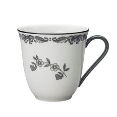 Ostindia Svart mugg från Rörstrand | Nordic Nest Nordic Design, Coffee Mugs, Tableware, Floral, Florals, Dinnerware, Dishes, Flowers, Coffee Cups