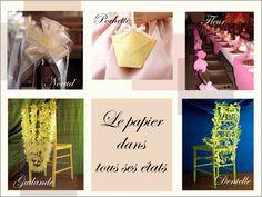 decoration chaise bancs d'eglise mariage fleurs en papier cocarde noeud pochette confettis